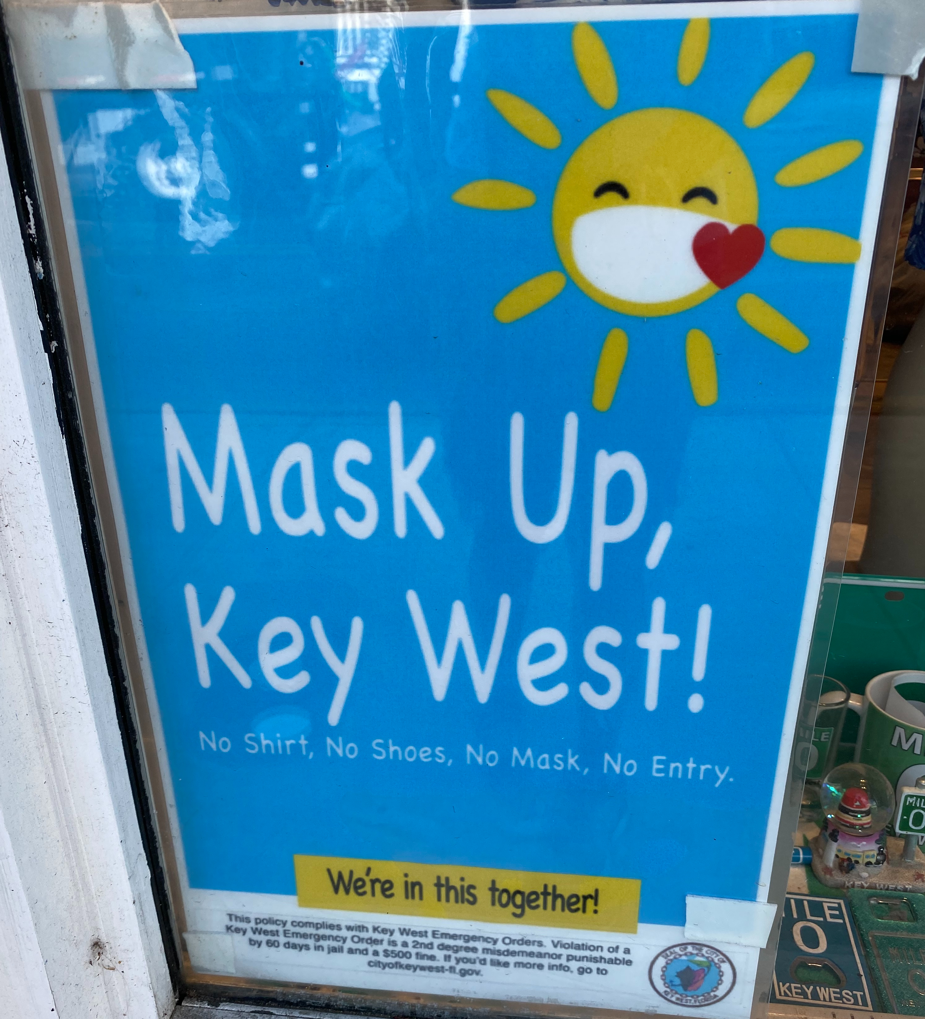 Key West was serious about social distancing and masks.