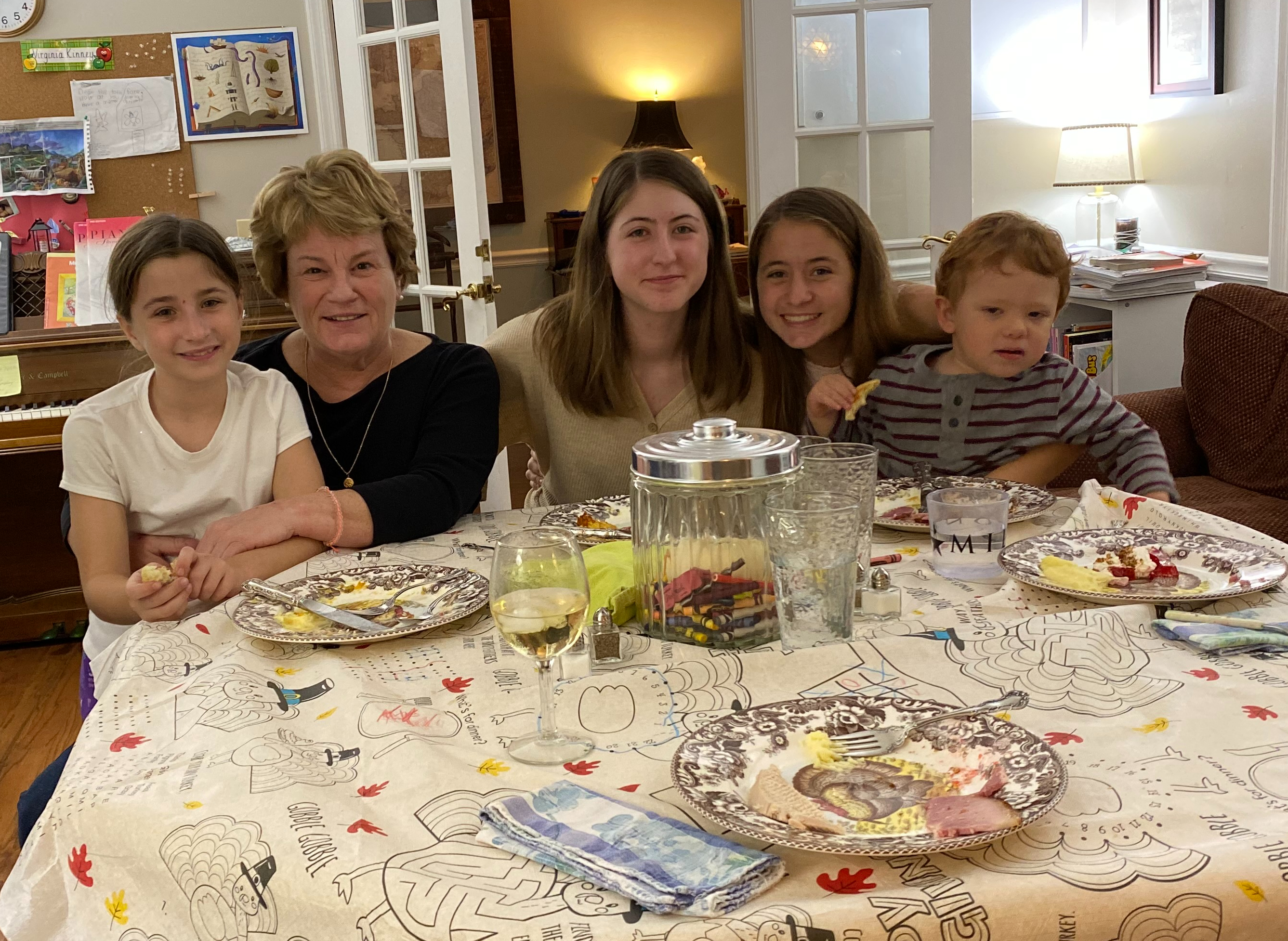 The children's table at Thanksgiving in St. Marys, GA. MoMo is always requested at the children's table!