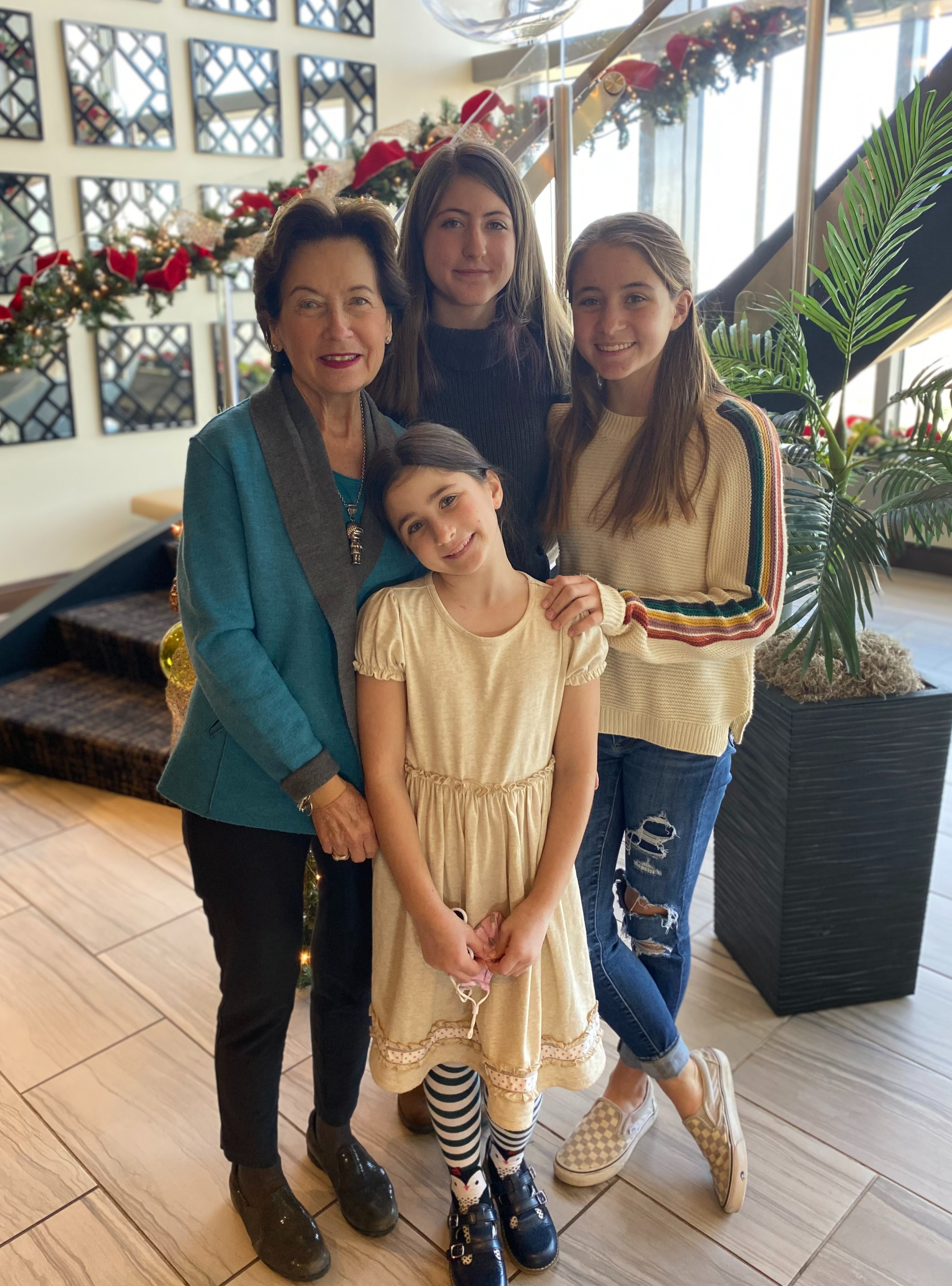 Patti and granddaughters Mary Grace, Elsie, and Virginia at a Christmas luncheon at Raleigh City Club.